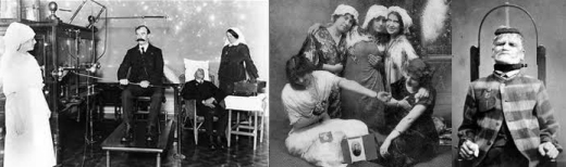 A scene from a Victorian madhouse (left to right): Doctor and the medics, the mad breast touchers and what happens to patients who won't spit out their chalky-cheesy-cat-poo.