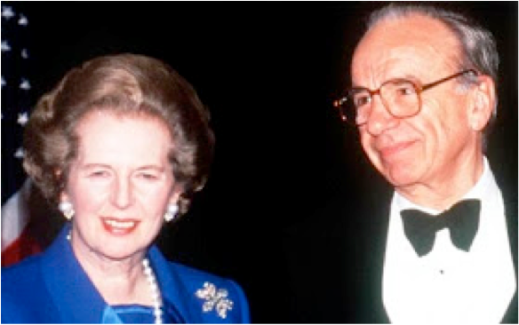 Margaret Thatcher and Rupert Murdoch shared a marriage of convenience.  She allowed him to build up a vast anti-competitive press empire, and he  used that empire to back her policies.
