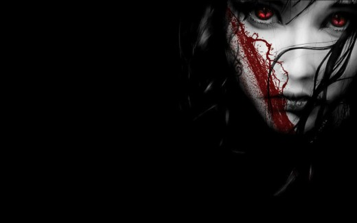 Gothic bloodstained face
