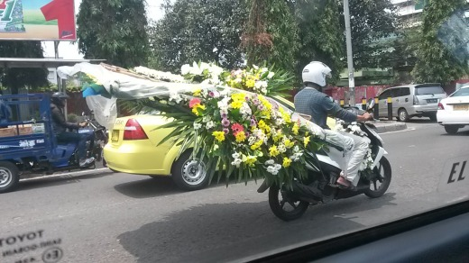 Crazy florist on a bike